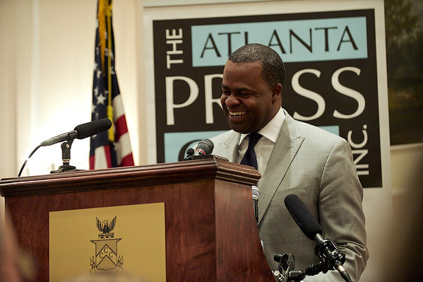 Mayor Kasim Reed speaks at a Newsmaker Luncheon for the Atlanta Press Club.