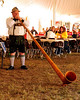 A member of Ring Ludwig's Barvarian Band, blows the Alpine Horn, during Attitash Ski Area's, 13th Annual Oktoberfest event, held on October 9th & 10th, 2010, in Bartlett, NH