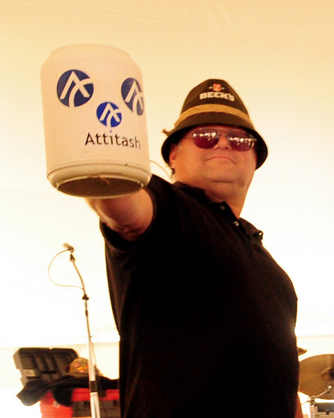 """Matthew Bateman, of Stone Ridge, NY, takes part in a """"stein holding"""" competition, during The 13th Annual Oktoberfest event, at Attitash Ski Area, in Bartlett, NH, on October 9th & 10th, 2010."""