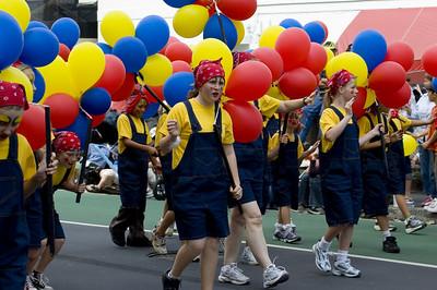Blue yellow and red Santa Parade Auckland New Zealand - 27 Nov 2005