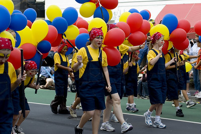 Blue yellow and red Santa Parade Auckland New Zealand - 27 Nov 2005