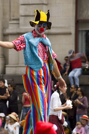 Tall clown Santa Parade Auckland New Zealand - 27 Nov 2005