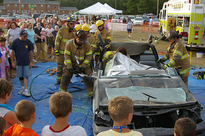 Saturday, August 18th, 2007: ISLAND FEST---Rainbow Hose Company presented how they free a person trapped in a wrecked vehicle.  Borough Manger, Jim New volunteered to be the victim.