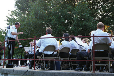 Wednesday, August 15th 2007: A crowd of approximately 50 people enjoyed the music performed by the Cressona Band in Schuylkill Haven's Bubeck Park.  John F. Potlunas is the band director.