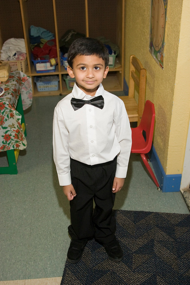 Rithik all dressed up and ready to go for his preschool christmas program at the Austin Children's Montessori
