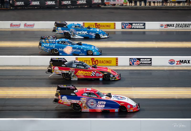 Finals day at the NHRA ZMax 4-Wide Natationals. Can anyone stop  John Force Racing?  They have the Top 3 quailifiing spots in Funny Car.  #1) Courtney Force, #2) Robert Hight, #3) John Force.  ............  @JFR_Racing  @CourtneyForce @roberthight7000 @tommyjohnson_jr  @dragillustrated ............