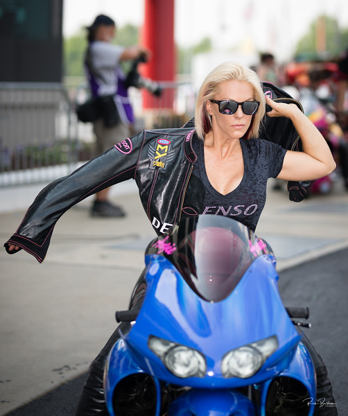 In the old days our Super Heros would have to change into their costumes in a phonebooth!  Pro Stock Drag Racer Angie Smith sporting her new Vanson  Leathers.  ................  @angiesmith   @dragillustrated   @rickbeldenphotography  @Vansonleathers  @Denso  .....
