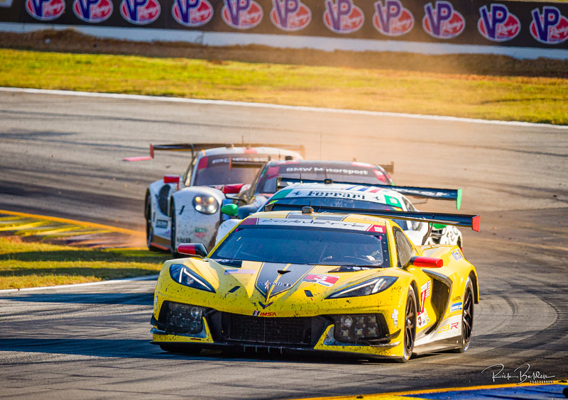"""4 different Manufacturers in 2 different classes battling it out at Road Atlanta.  Not often you see this variety of cars on a track at the same time.  Corvette, Ferrari, BMW and Porsche.   IMSA series at the """"Petit LeMans"""" Sports Car Edurance Race.     .................................................."""