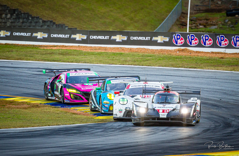 """Not often you see this variety of cars on a track at the same time.  Cadillac, Porsche and Acura.   IMSA series at the """"Petit LeMans"""" Sports Car Edurance Race.     .................................................."""