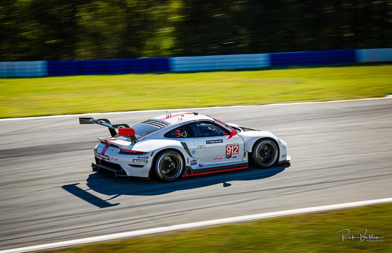 "Porsche 911 RSR  racing in the IMSA series at the ""Petit LeMans"" Sports Car Edurance Race.     .................................................."