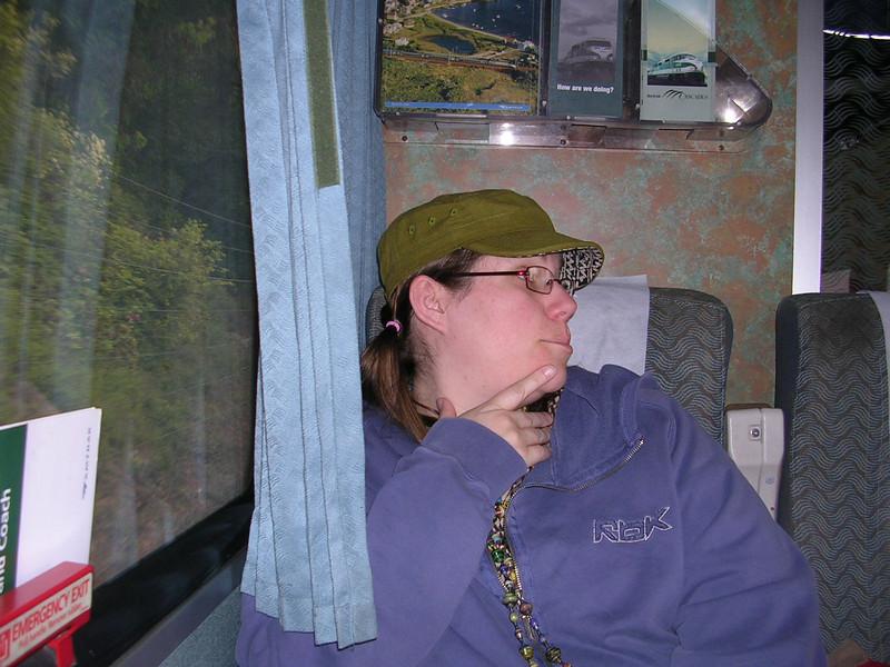 Kassandra on the train.
