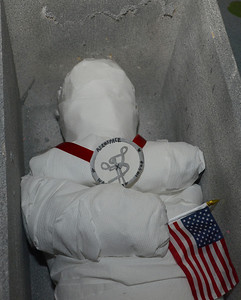 Erica Benson—ebenson@shawmedia.com  The mummification of Neil Armstrong at the mastaba exhibit hosted by 5th graders of Avery Coonley School Thursday Feb. 21 2013.