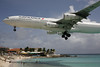 Air France A340 flying over Maho Beach.
