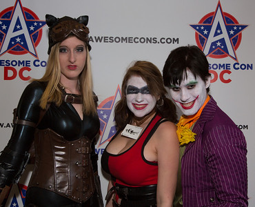 Katie as Catwoman, Rachel as Harley Quinn, Travis as The Joker