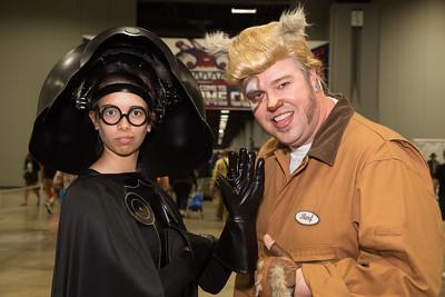 """Kayla Moore as """"Dark Helmet"""", Scott Moore as """"Barf"""", from the movie Spaceballs"""