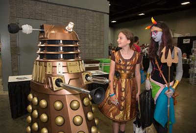 Joshua Unthank in his Bronze Dalek Tess as Feferi, Aya as a Dalek (DC)