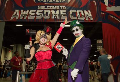 Cosplayers Jennifer Rast as Harly Quinn, and Adam Rast as Joker