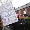 Women's March in Ayer begins with a rally at Town Hall. Dina Samfield of Shirley. (SUN/Julia Malakie)