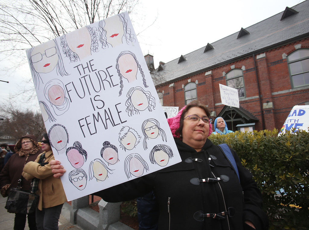 . Women\'s March in Ayer begins with a rally at Town Hall. Dina Samfield of Shirley. (SUN/Julia Malakie)
