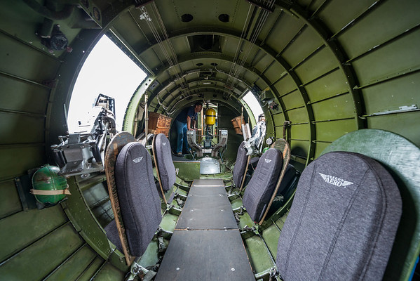 The left and right waist gunner stations. The view from the tail section.