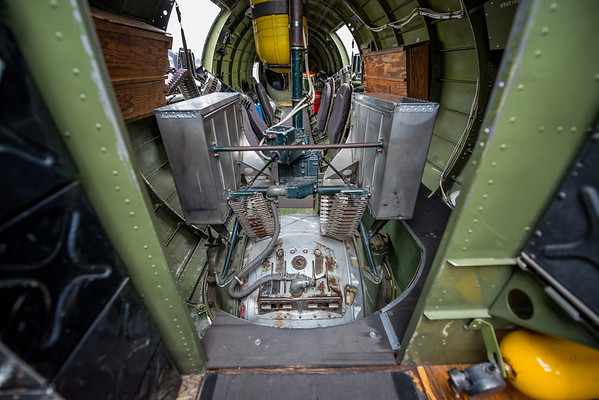 The view towards the tail from the radio compartment: the ball turret.