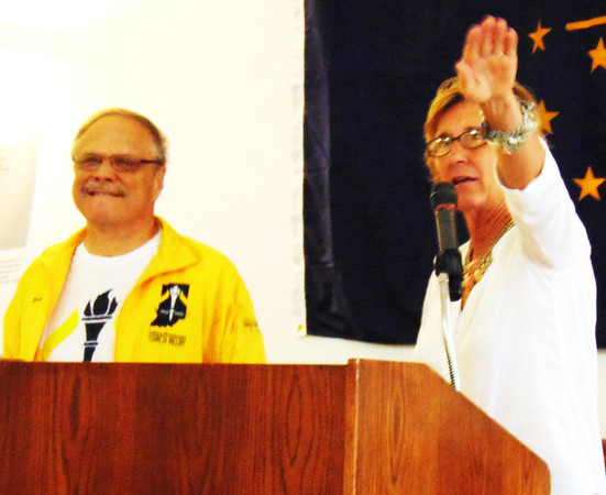 """Debbie Blank   The Herald-Tribune<br /> The Rev. Dave Johnston, one of four Indiana Bicentennial Torch Relay torchbearers in Batesville, opened the lunch with a prayer. He said, in part, """"Anniversaries like this are a time to look back and look forward."""" Batesville Bicentennial Committee co-chair Carolyn Dieckmann reported, """"Every time we needed something, somebody stepped up."""""""