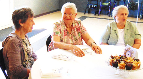 Debbie Blank | The Herald-Tribune<br /> Batesville residents (from left) Shirley Acito, Ruth Billman and Joan Weisenbach were among 140 guests hosted by the Batesville Area Historical Society at the Batesville Knights of Columbus Hall Sept. 13. On the Indiana Bicentennial luncheon menu were strawberry soup, fresh fruit, egg casserole, cheddar biscuits and assorted muffins, served on fine china.