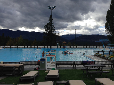 Canadians are tough.  Chilly with wind outside but still swimming in the hot springs pools.