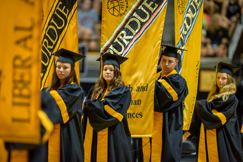 BGR participants are welcomed to Purdue during the New Student Induction Ceremony in Mackey Arena. (Purdue University photo/Alex Kumar)