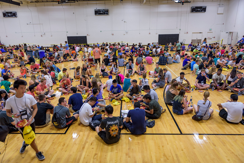 BGR participants enjoy a lunch, provided by Papa Johns, inside of the France A. Cordova Recreational Center.(Purdue University photo/Alex Kumar)