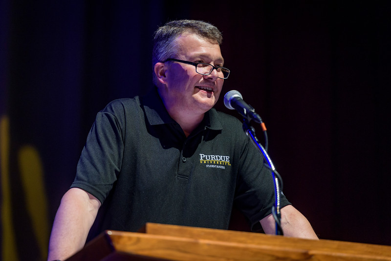 Jay Akridge, Interim Provost and Executive Vice President for Academic Affairs and Diversity, speaks to new Boilermaker students during the BGRi opening ceremony. (Purdue University photo/Alex Kumar)