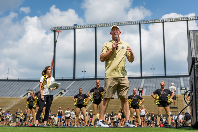 Purdue Head Football Coach Jeff Brohm addresses the Class of 2021 during the Boiler Up Rally as Ross-Ade Stadium. (Purdue University photo/Alex Kumar)