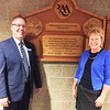 Submitted photo<br /> Rural Alliance for the Arts co-founder Jolene Rockwood (right) and superintendent Paul Ketcham celebrate the re-opening of the improved BHS auditorium. The project to modernize the high school began during superintendent Dr. Jim Roberts' tenure and was continued by interim superintendent Bill Narwold. Ketcham and a BCSC team saw the project through to completion.