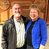 Submitted photo<br /> Music teacher Leon Enneking (left), who has used RAA Arts in Education and other grants to build a unique world drumming program at Batesville Middle School, celebrates the upgraded auditorium with Jolene Rockwood.