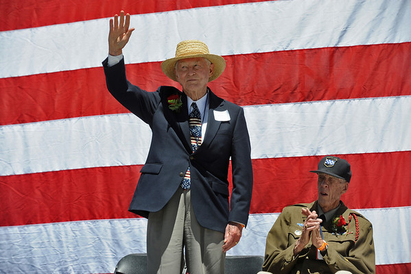 BOLDER<br /> Ed Trumble, left, and Allan Nelson, who both fought in the Battle of the Bulge, were honored during the Memorial Day tribute held during the 32nd Annual Day Bolder Boulder on Monday.<br /> Photo by Marty Caivano/Camera/May 31, 2010