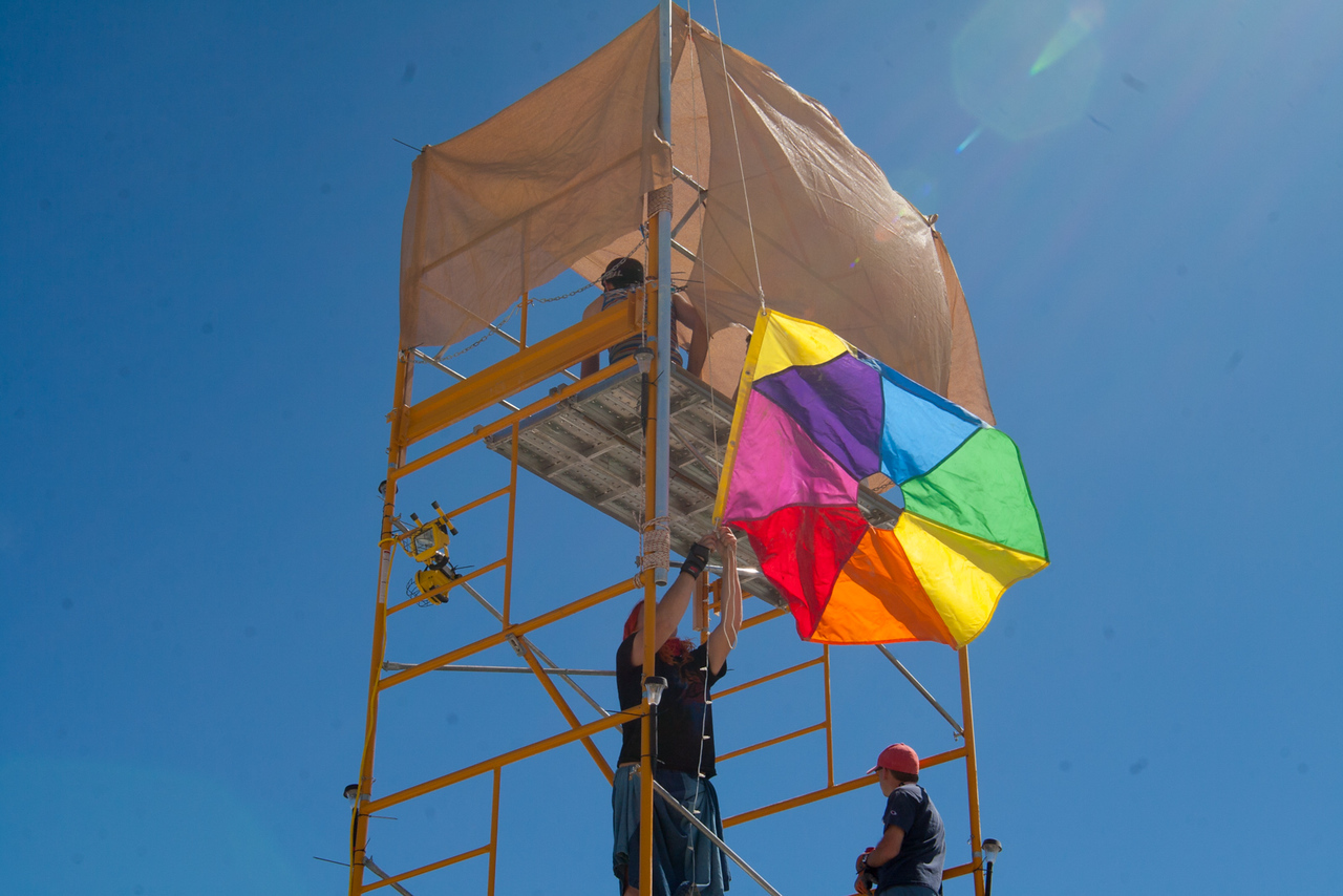 Camp Octarine's flag going up.
