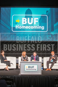 A scene from Buffalo Homecoming's Buffalo Together panel at Buffalo Riverworks.
