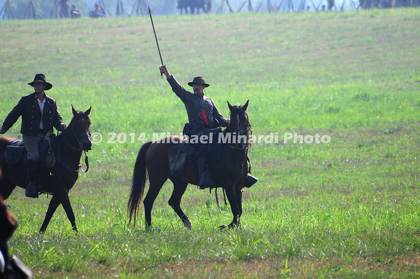 "Battle of Bull Run -  Confederate Cavalry Officer signals to ""Charge""."