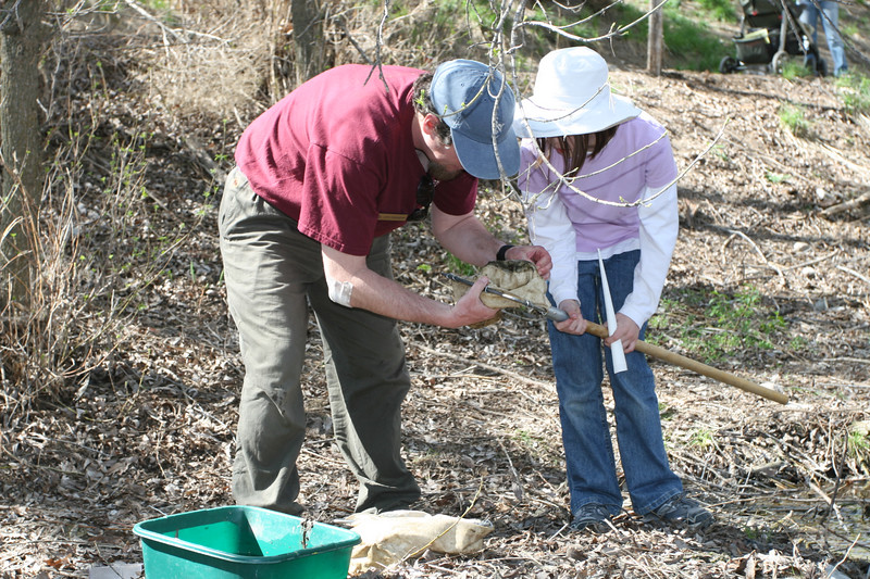 John from Stokes Nature Center helps a young visitor find baby bugs.