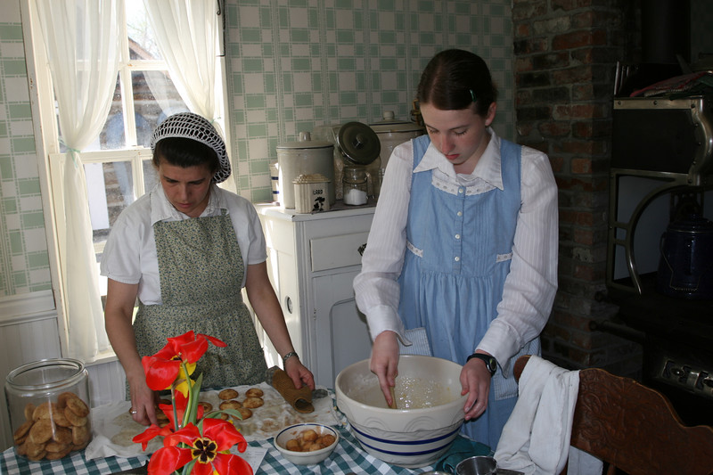Preparing lunch in the 1917 farmhouse.