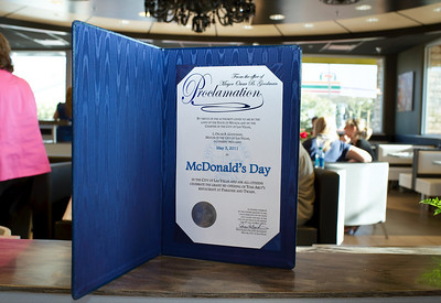This Proclamation declares May 3rd McDonald's Day in Las Vegas. Baccarat crystal chandeliers, sconces, pendant lights decorate McDonald's restaurant located 3700 Paradise Road at Twain in Las Vegas Mayor Oscar Goodman and Carolyn Goodman on hand for the opening of Tom Arlt's 35th McDonalds restaurant.
