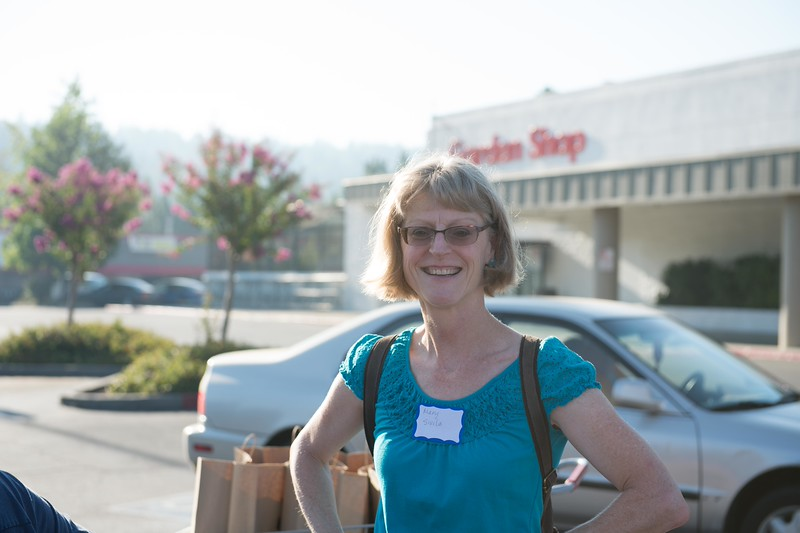 Gold Country Kiwanis member Mary Sivila after shopping with one of the kids. She doesn't look rattled at all after that.<br /> Of course, I jest. It is really a great experience.