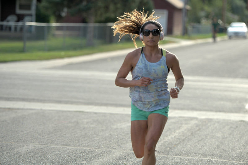 Matthew Gaston | The Sheridan Press<br>Nury Quevedo was the first to finish the Back-to-School 5K at the Tongue River Community Center in Ranchester Thursday, Aug. 8, 2019.