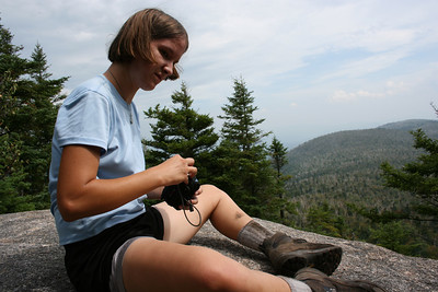 Gennie taking her camera out at Roger's ledge.