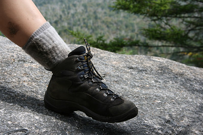 Gennie's Asolo boot on Rogert's Ledge.
