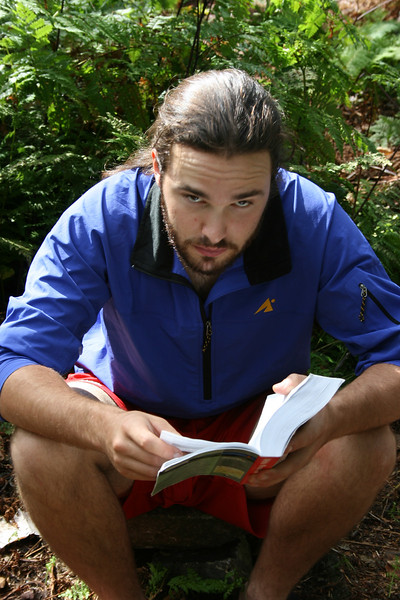 Nathan reading the guidebook.