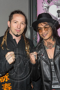 "LOS ANGELES, CA - DECEMBER 12:  Guitarists Zoltan Bathory of Five Finger Death Punch (L) and Stevie D. of Buckcherry attend The Backstage Artist Lounge's 12-12-12 industry event supporting the ""I Have A Dream"" foundation at The Gibson Showroom on December 12, 2012 in Los Angeles, California.  (Photo by Chelsea Lauren/WireImage)"