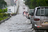 Images taken in Manila a few hours after the typhoon Frank (fengshen) hit the capital of Philippines. A main boulevard is flooded causing traffic.
