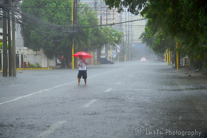 Images taken in Manila a few hours after the typhoon Frank (fengshen) hit the capital of Philippines. A pedestrian is crossing a flooded street under an umbrella