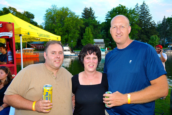John Monette ('90), Brenda Cole ('90) and Thomas Walser ('90) enjoying refreshments at the 2011 Baldwinsville Alumni weekend presented by the C. W. Baker Alumni Association at Paper Mill Island in Baldwinsville, New York on Friday, August 5, 2011.